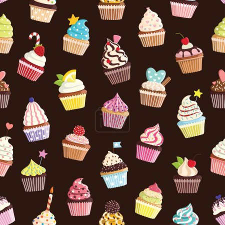 Photo for Pattern with cute colorful cupcakes. For textiles, cards, decorations, wallpaper - Royalty Free Image