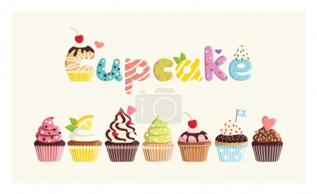 Photo for Set of multicolored cute cupcakes. For postcards, stickers, prints, posters, decorations, labels, cloth. - Royalty Free Image