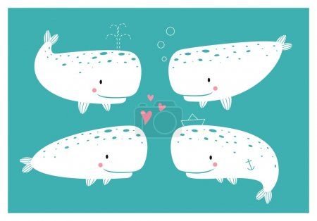 Photo for Set of cute sperm whale. Cartoon character. - Royalty Free Image
