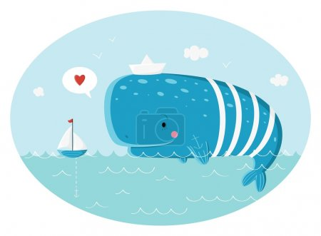 Photo for Blue sperm whale sailor and ship.  Vector illustration - Royalty Free Image