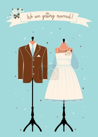 Photo for Wedding invitations with wedding suit. - Royalty Free Image