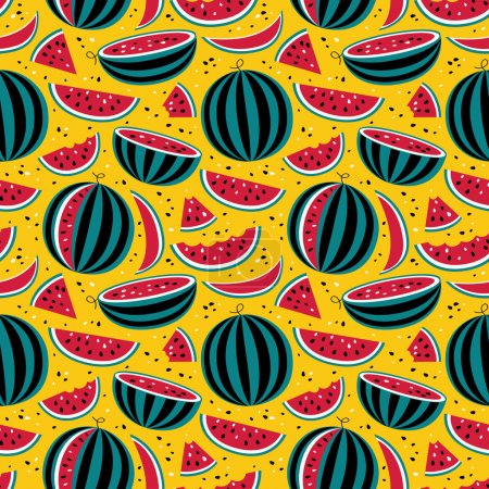 Photo for Seamless pattern with watermelons on yellow background for print, card, posters, decoration, cover, textiles - Royalty Free Image