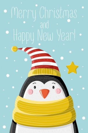 Photo for Cute penguin in striped cap under the snow. Picture for prints, Christmas cards, decoration, covers, poster - Royalty Free Image