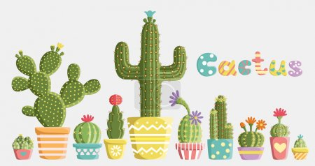 Photo for Set of cacti in pots of different shapes and colors created in a fun, cute style. - Royalty Free Image
