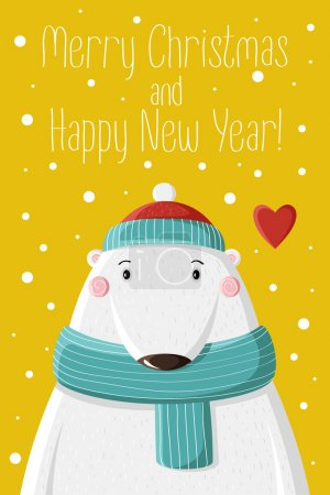 Photo for Cute white bear in knitted cap under the snow. Picture for prints, Christmas cards, decoration, covers, poster - Royalty Free Image