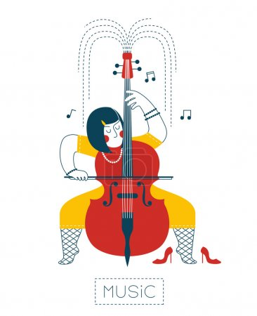 Photo for The woman playing the cello and gushes music. - Royalty Free Image