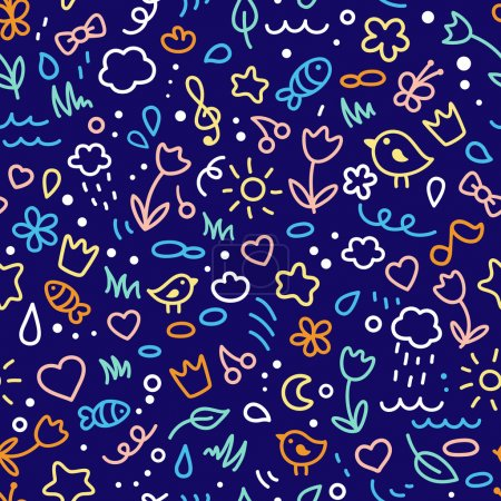 Photo for Seamless colored cute pattern . Vector background. - Royalty Free Image