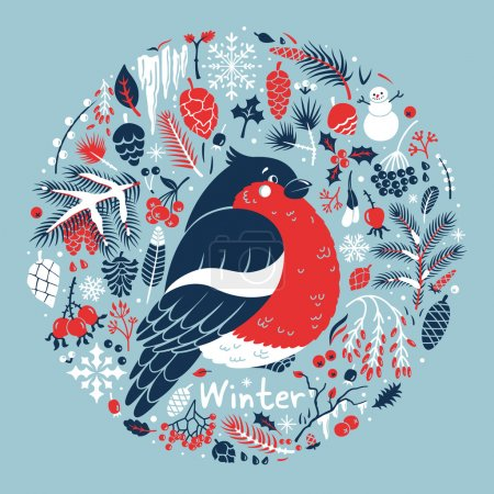 Photo for Winter medallion with a cute bullfinch among the snow, cones, berries, pine branches. Vector card. - Royalty Free Image