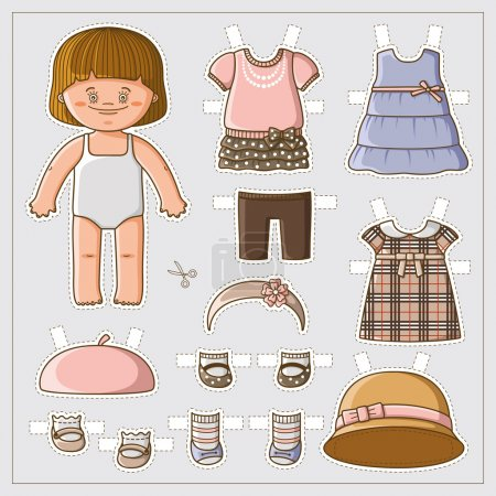 Photo for Dress up cute paper doll with body template. Vector set of clothes. - Royalty Free Image