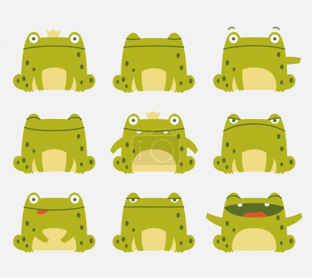 Photo for Emotional cute frogs. Cartoon character. - Royalty Free Image