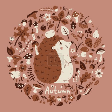 Photo for Autumn medallion with a cute hedgehog among the leaves, cones, berries, flowers and mushrooms. Vector card. - Royalty Free Image