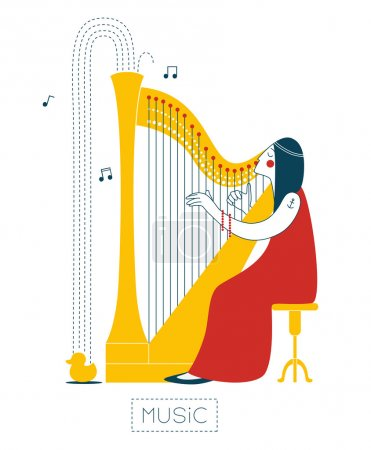 Photo for The woman playing the harp and gushes music on a rubber duck. - Royalty Free Image