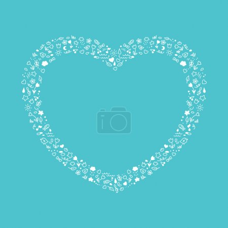 Photo for Cute heart of white contour elements - heart, moon, sun, flowers, birds, fish. Wedding invitation or card. Vector illustration. - Royalty Free Image