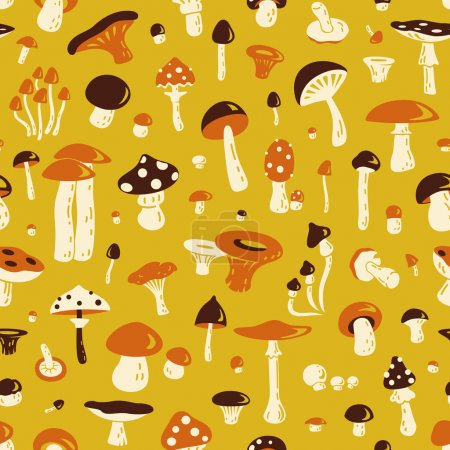 Photo for Vintage pattern from different fungi. - Royalty Free Image