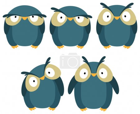 Illustration for Set of blue owls with different emotions. - Royalty Free Image