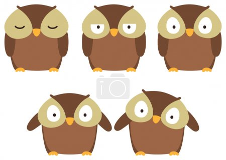 Photo for Set of brown owls with different emotions. - Royalty Free Image