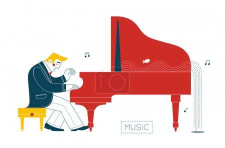 Photo for The pianist plays the piano in the music splashing fish. - Royalty Free Image