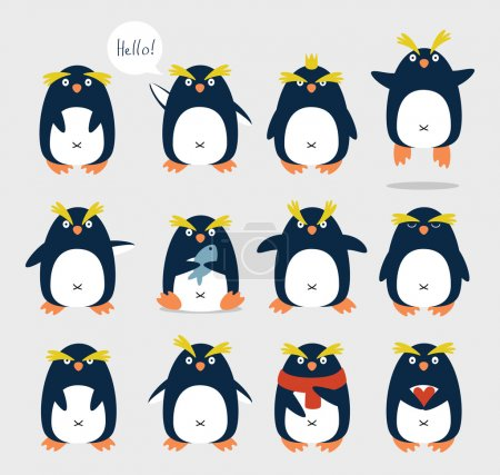 Photo for Set of emotional cute crested penguins. Cartoon character. - Royalty Free Image