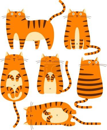 Illustration pour Set of cute red cats. Cartoon character. - image libre de droit