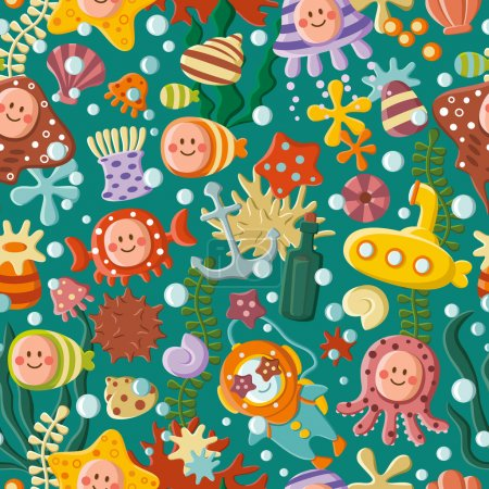Photo for Cute sea pattern with cartoon characters - Royalty Free Image