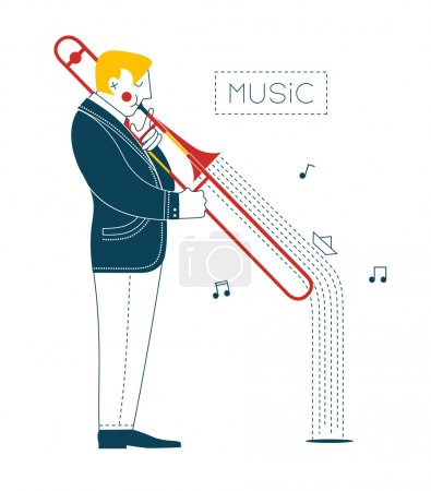 Photo for The musician plays the trombone and music floating ship. - Royalty Free Image