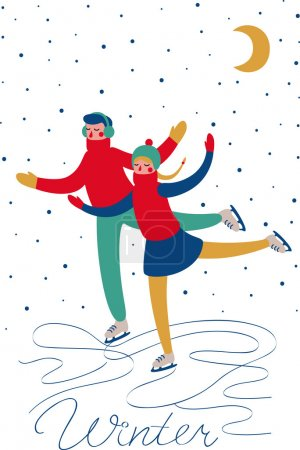 Photo for Sweethearts boy and girl skating in the winter under the snow under the moon. Vector card - Royalty Free Image