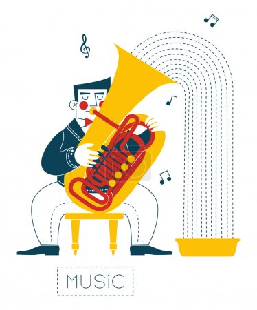 Photo for The musician plays the music in the pelvis. - Royalty Free Image