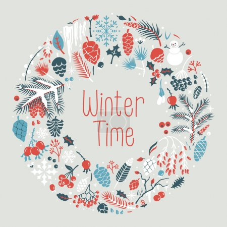 Photo for Winter wreath with snow, cones, berries, pine branches, leafs. Vector illustration for postcards, calendars, posters, prints - Royalty Free Image