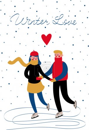 Photo for Sweethearts boy and girl in sweaters skating in the winter under the snow. Vector card - Royalty Free Image