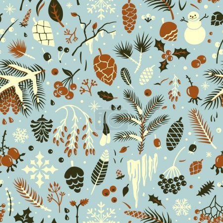 Photo for Seamless winter pattern with leaves, pine cones, snowflakes, berries, holly, branches. Vector background. - Royalty Free Image