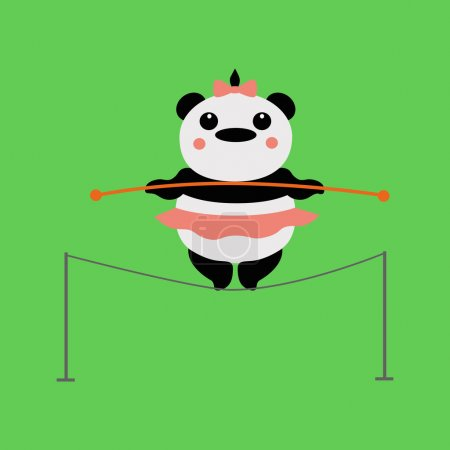 Photo for Circus, Panda acrobat, tightrope Walker. - Royalty Free Image