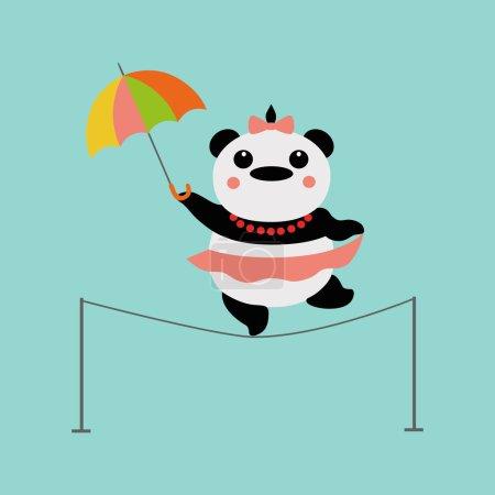 Photo for Panda acrobat with umbrella - Royalty Free Image