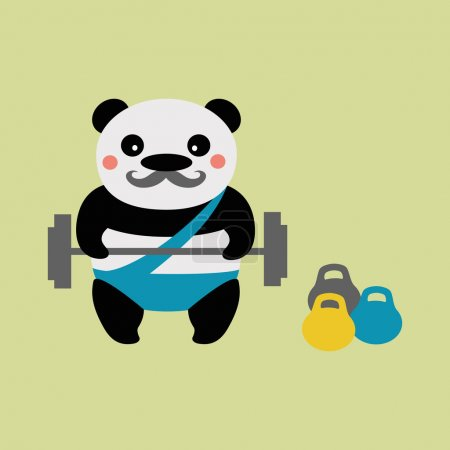 Photo for Baleen Panda athlete with a barbell - Royalty Free Image