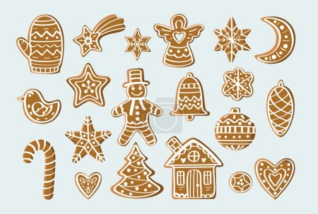 Photo for Set with gingerbread figures: tree, stars, snowflakes, man, house, bird, heart, mittens, ball. For postcards, backgrounds, prints - Royalty Free Image