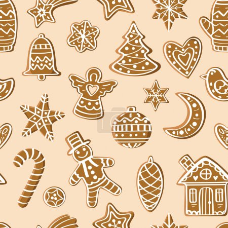 Photo for Seamless pattern with gingerbread figures. For the decorations, cards, prints - Royalty Free Image