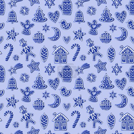 Photo for Seamless pattern with blue figures: mittens, house, man, moon, stars, heart, bird, ball, candy, Christmas tree, snowflake - Royalty Free Image