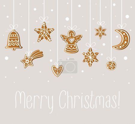 Photo for Merry Christmas holiday card with gingerbread under snow: ball, bell, star, heart, angel, moon. For print, decoration, invitation, postcard, banner. - Royalty Free Image