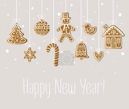 Photo for New Year card with gingerbread under snow: ball, star, heart, bell, bird, gingerbread man, house, candy, tree. For print, decoration, invitation, postcard, banner. - Royalty Free Image