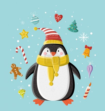 Photo for Cute penguin in striped knitted cap with Christmas toy (heart, bell, balls, candle, gingerbread man, Christmas tree) under the snow. Picture for prints, Christmas cards, decoration, covers, poster. - Royalty Free Image