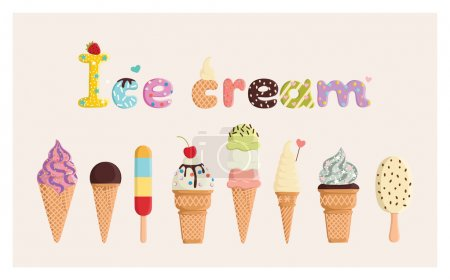 Photo for Set of multicolored cute ice cream. For postcards, prints, posters, decorations, labels, cloth. - Royalty Free Image