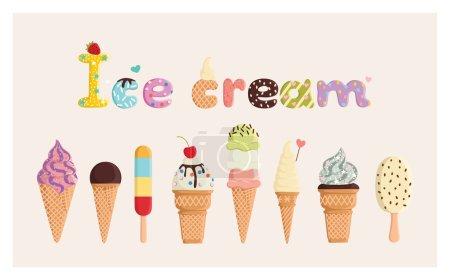 Illustration pour Ensemble de crème glacée mignonne multicolore. Pour cartes postales, gravures, affiches, décorations, étiquettes, tissus . - image libre de droit