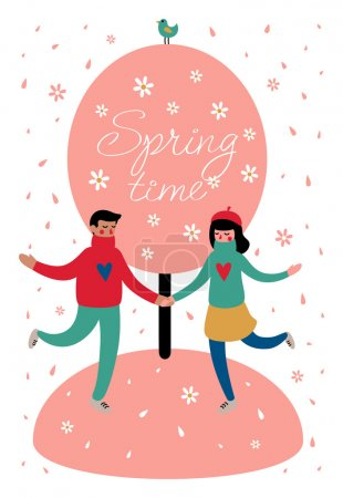 Photo for Sweethearts boy and girl under a blossoming tree in spring season. Around the falling flower petals. Vector illustration for postcards, calendars, posters, prints - Royalty Free Image