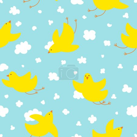 Yellow cute birds in flight