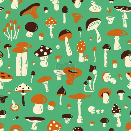 Photo for Seamless pattern with mushroom. For fabric, postcards, prints, posters, covers, wallpaper - Royalty Free Image