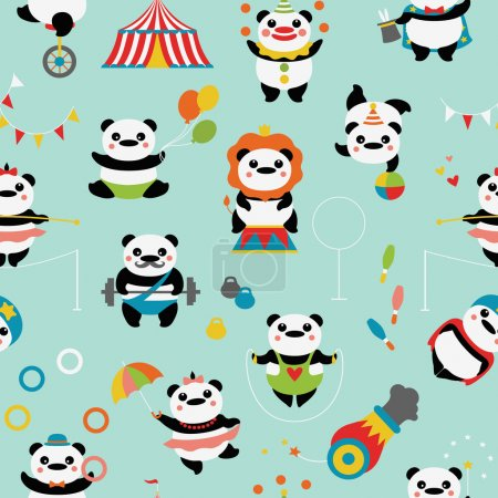 Photo for Seamless pattern with cute pandas: circus clowns, jugglers, a magician, acrobats, an athlete, a tightrope walker, stunt, circus tent, bowling, dumbbells, balls, flags. - Royalty Free Image