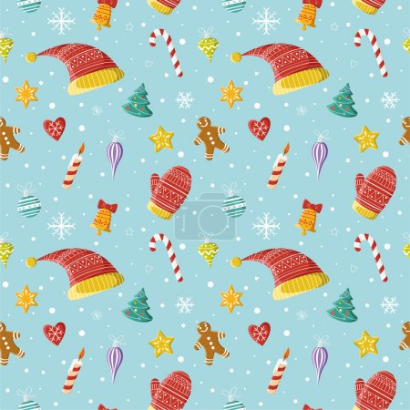 Photo for Seamless pattern with Christmas decorations. Picture for gift wrap, prints, Christmas cards, decoration, covers, poster, banner, invitation. - Royalty Free Image