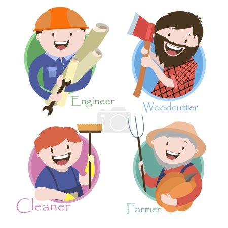 Occupation , lumberjack , an engineer, a cleaner , a farmer , vector graphics
