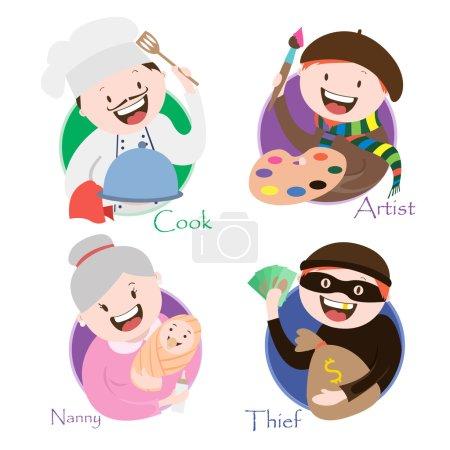 profession , chef, artist, thief , babysitting, vector graphics