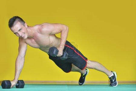 Gym man push-up strength pushup exercise