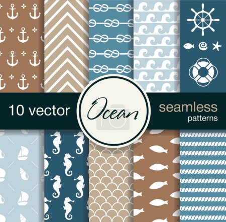 10 seamless vector patterns. Nautical theme.